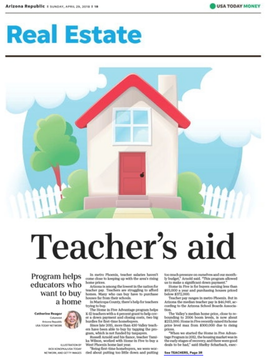 Arizona Republic Sunday April 29, 2018 Teacher's Aid article thumbnail